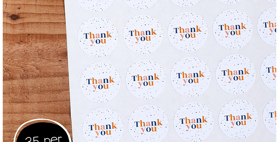 Terrazzo Thank You Stickers - 35mm Circles - White