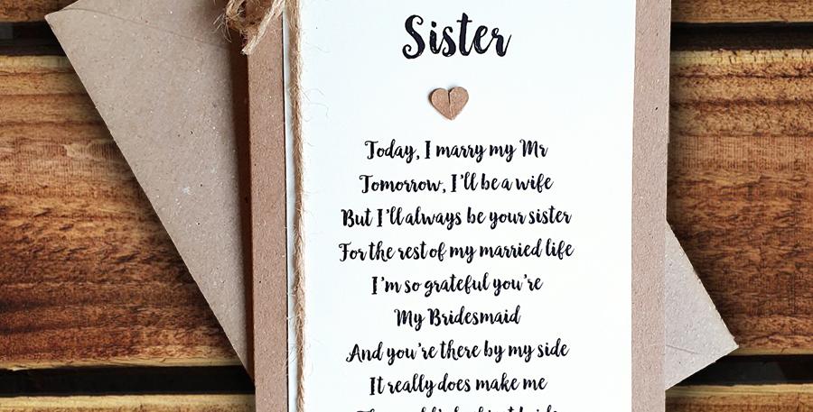 Sister Bridesmaid Wedding Card