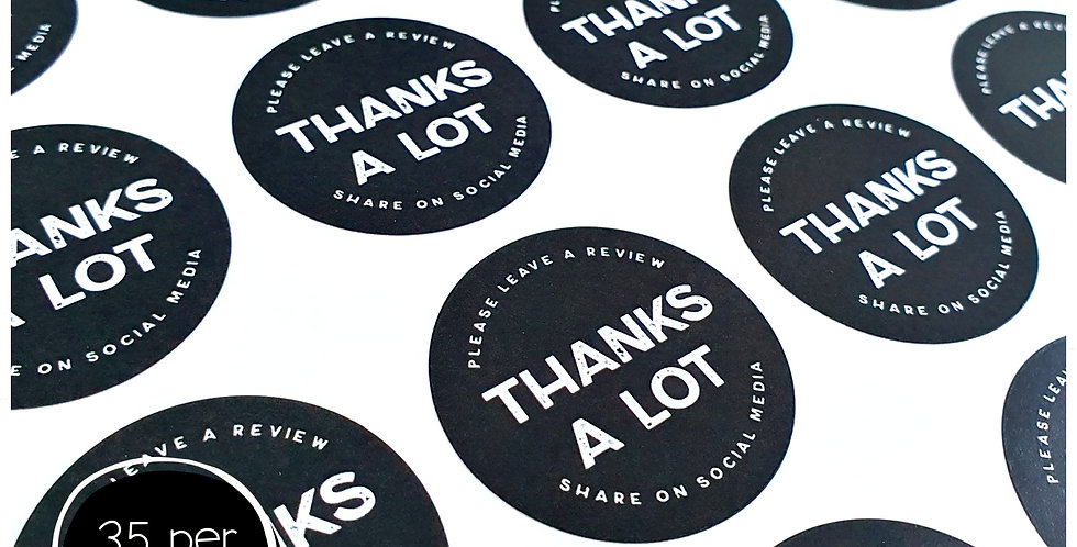 Thanks A Lot Stickers - 35mm Circles - Black