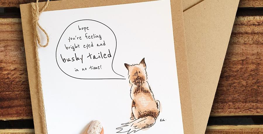 Get Well Fox Card