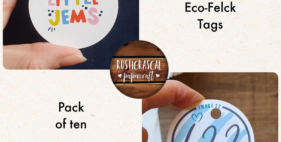 REPEAT ORDER 10pk Logo Circle Tags/ White or Eco fleck/ 50mm