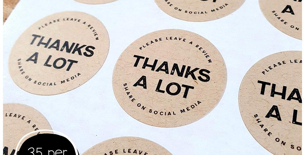 Thanks A Lot Stickers - 35mm Circles - Kraft Brown
