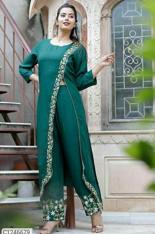 Awesome A-Line Rayon Embroidered P