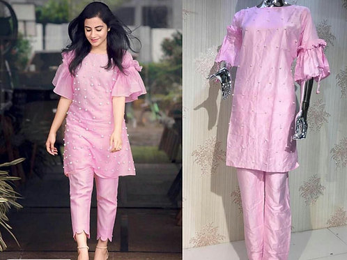 Authentic Cotton Kurti Pant Set With Pearl Work
