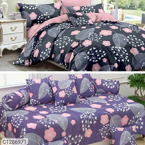 (Buy 1 Get 1 Free)Printed Glace Cotton Double Bedsheet