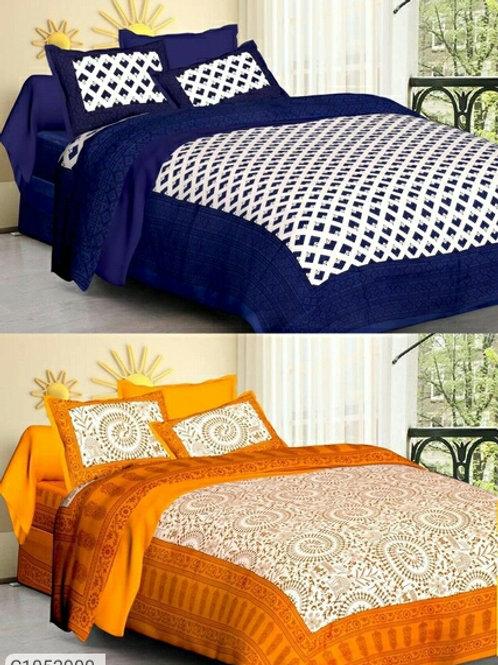 (Buy 1 Get 1 Free) Glace Cotton Double Bedsheet & Diwan Set