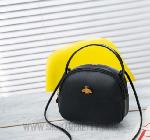 Black Designer Inspired Bee Crossbody Handbag
