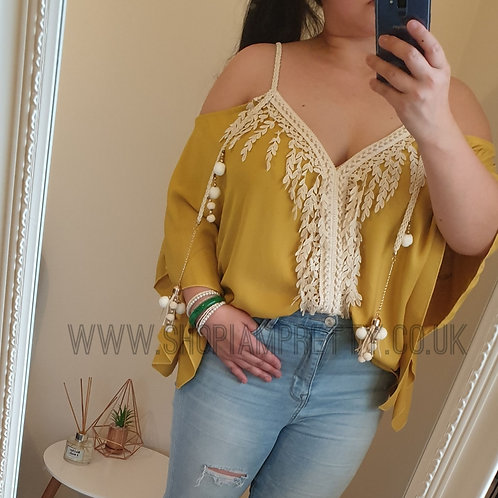 Braid & Leaf Detail Mustard Yellow Cold Shoulder Top