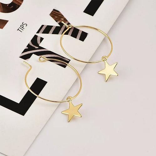 Star Gold Hoop Earrings