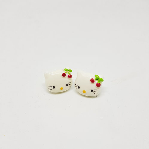 Red Cherry Bow Hello Kitty Stud Earrings