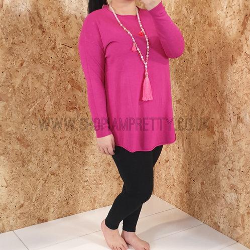 Fuchsia Pink Basic Jumper