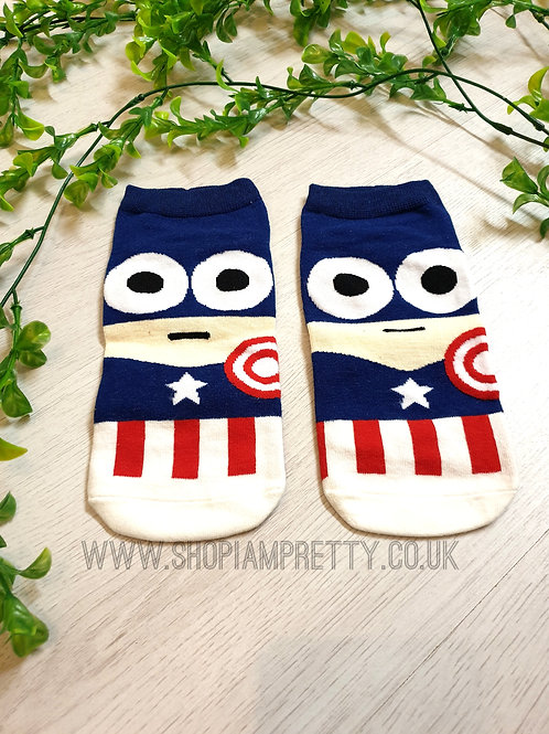 Captain America Super Hero Cartoon Novelty Ankle Socks