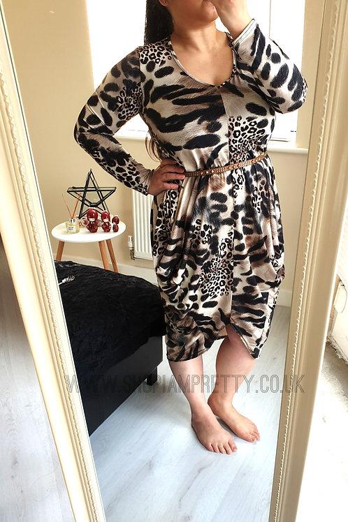 Animal Print Tulip Dress