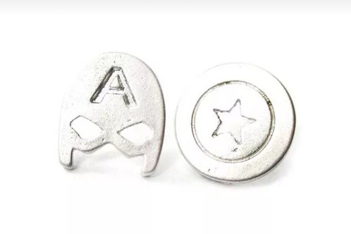 Captain Amercia Mask & Shield Silver Stud Earrings