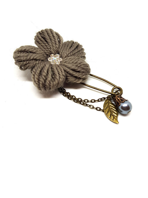 Charcoal Grey Knitted Flower Brooch