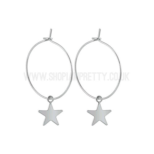 Star Silver Hoops Earrings
