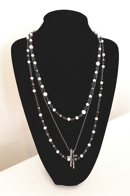 Diamante Cross and Pearl Necklace