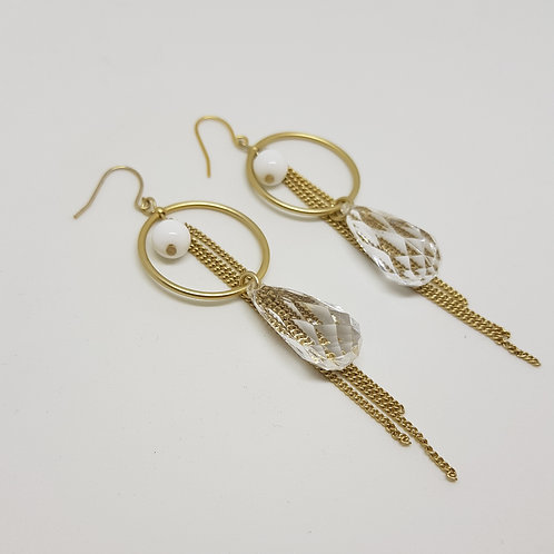 Circle Drop Gold Tassel Earrings