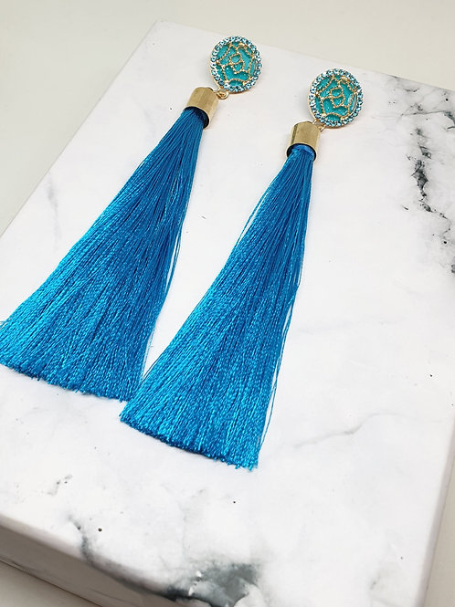 Aqua Blue Tassel Drop Earring