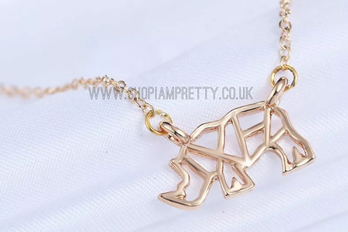 Geometric Rhino Gold Necklace