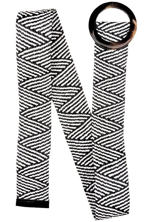 Zigzag Rattan Straw Look Stretch Belt