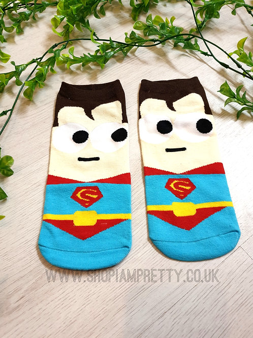 Superman Super Hero Cartoon Novelty Ankle Socks