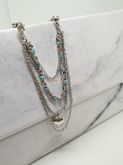 Turquoise & Diamante Connector Earring
