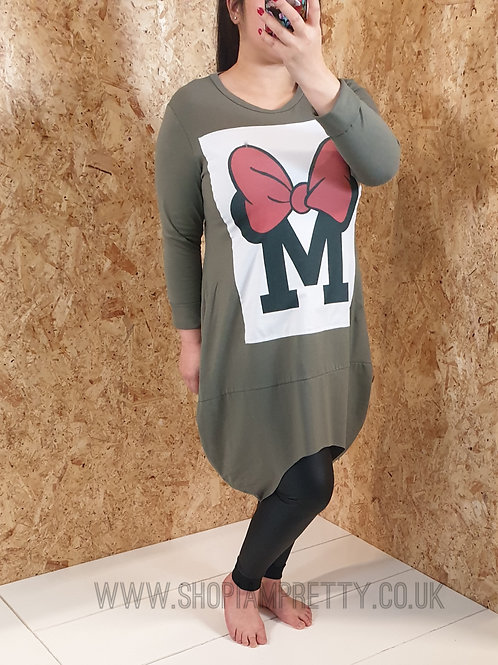 Khaki Green Minnie Mous Sweatshirt Dress