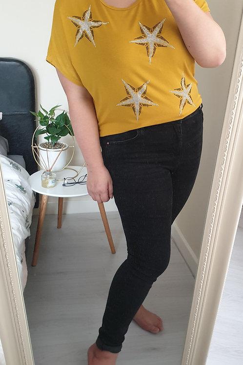 Sparkly Gem Star Mustard T