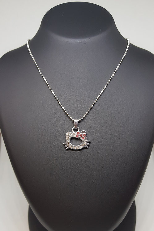 Diamante Gem Kitty Bow Pendant Necklace