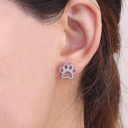 Dog Paw Silver Stud Earrings