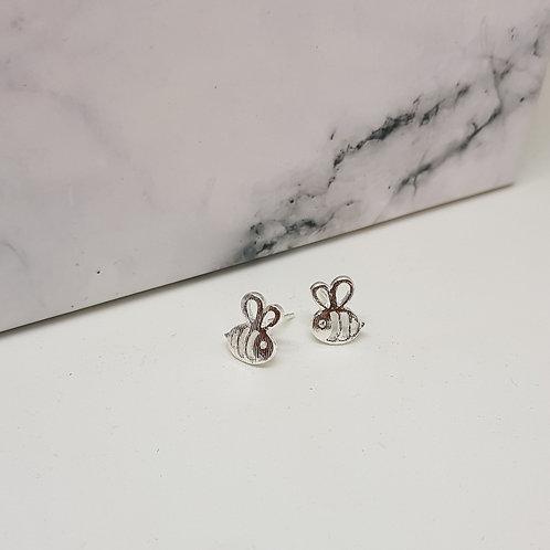 Bee Silver Stud Earrings
