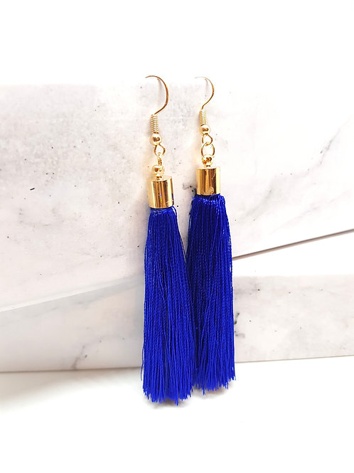 Electric Blue Tassel Drop Earrings