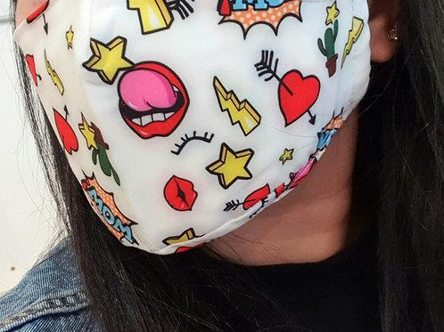 Designer Inspired Cartoon Logo Face Mask Covering