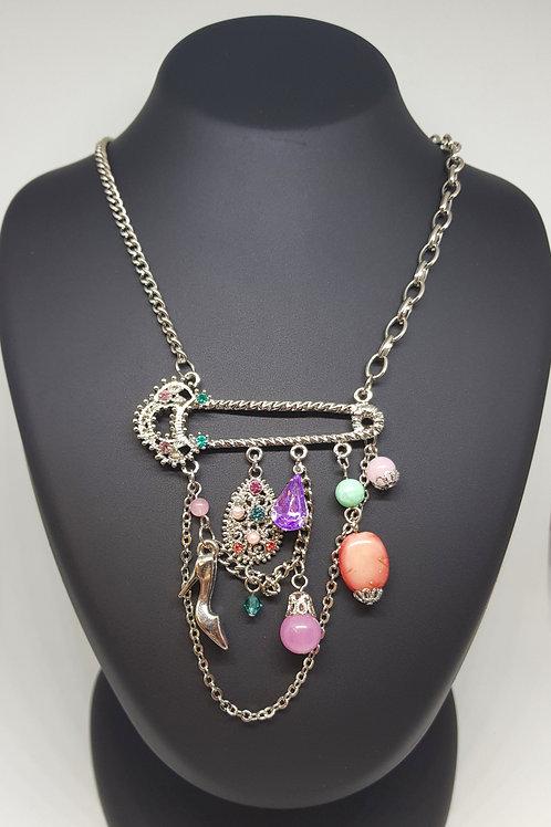 Stiletto Charm Pink Pendant Necklace