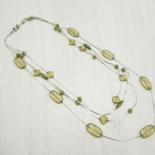 Green Glass Bead Multi Strand Necklace