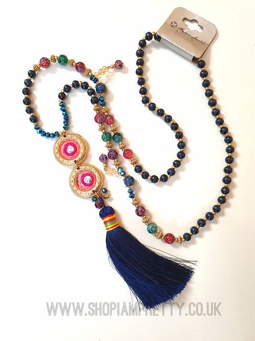 Navy Rainbow Detail Tassel Necklace
