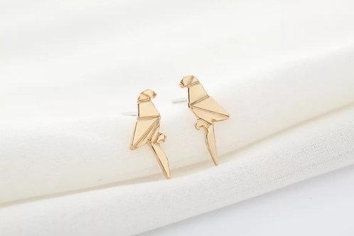 Gold Origami Bird Stud Earrings