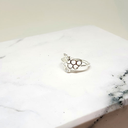 Honeycomb Bee Silver Ring