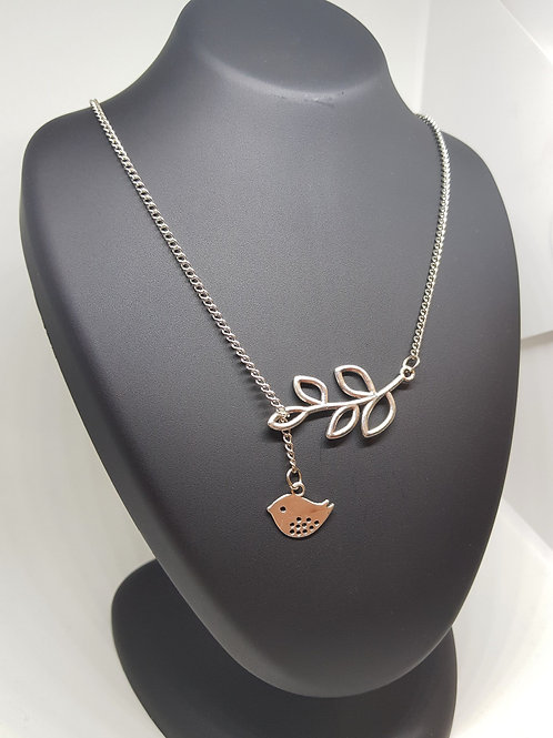 Leaf & Bird Silver Infinity Necklace