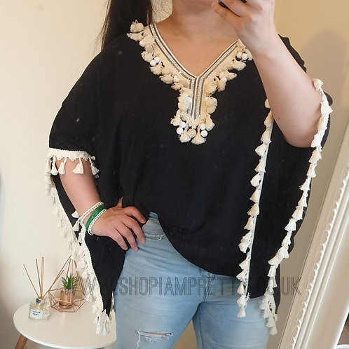 Tassle Detail Black Top