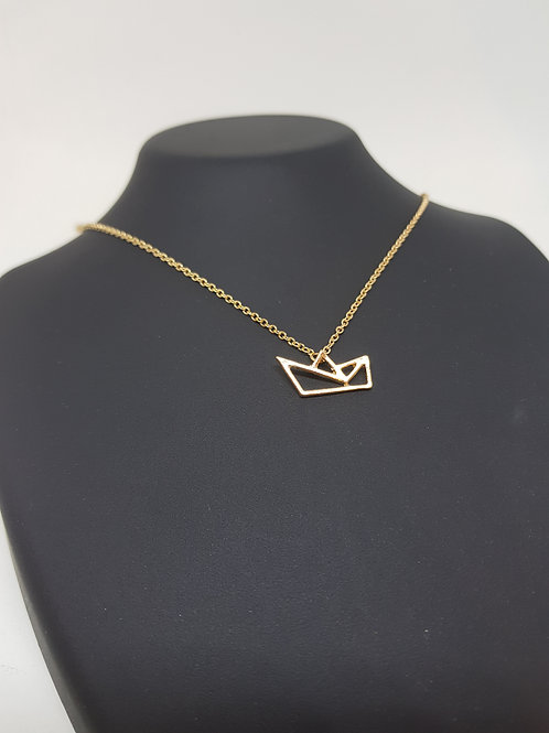 Origami Boat Gold Necklace