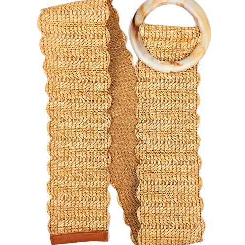 Wide Rattan Straw Look Belt