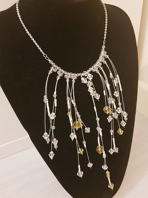 Multi Drop Clear & White Bead Necklace
