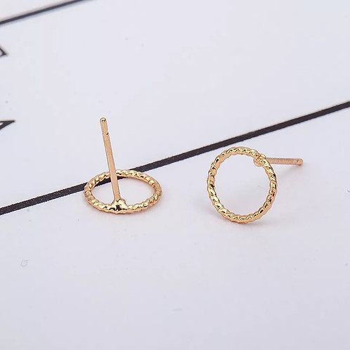 Circle Textured Gold Stud Earrings