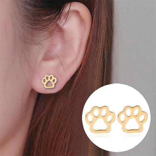 Dog Paw Gold Stud Earrings