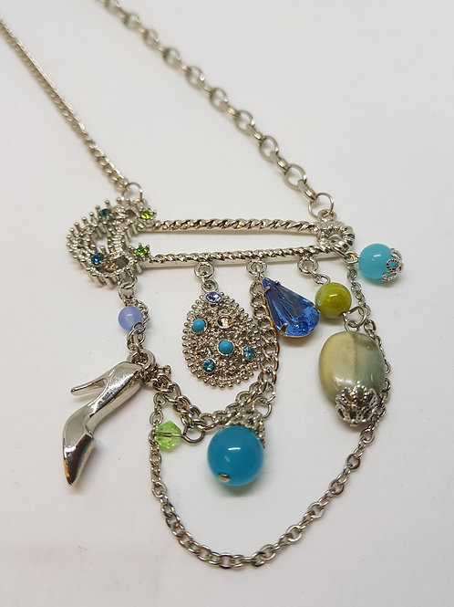 Stiletto Charm Blue Gem Necklace