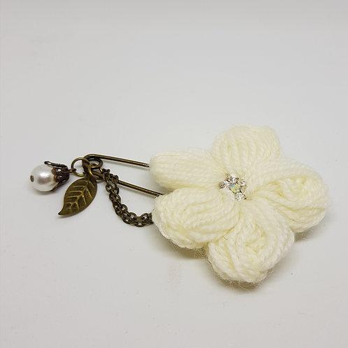 Knitted Cream Flower Brooch
