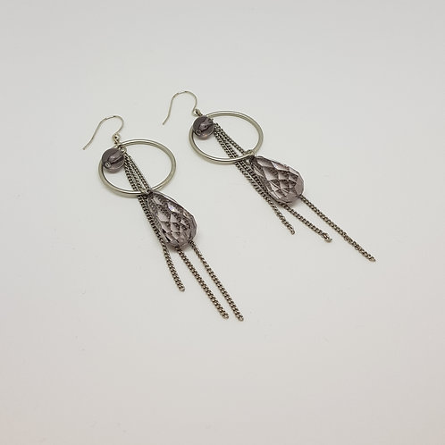 Circle Gem Tassel Silver Drop Earrings