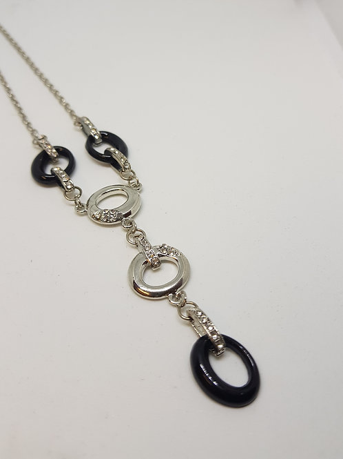 Silver and Black Circle Diamante Drop Necklace